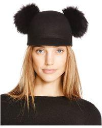 Bettina Wool Cap With Fox Fur Pom-poms - Black