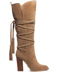 Michael Kors Jessa Laceup Suede Boot - Lyst
