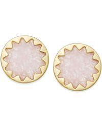 House of Harlow 1960 - Gold-tone Rose Quartz Sunburst Button Earrings - Lyst