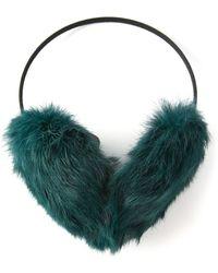 Meteo by Yves Salomon Rabbit Fur Ear Muffs - Green