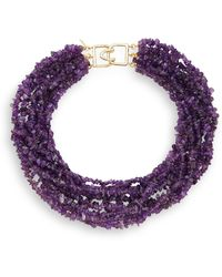 Kenneth Jay Lane Multi-Strand Amethyst-Color Bead Necklace - Lyst