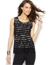 Inc International Concepts Sleeveless Lace Tank Top - Lyst