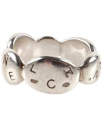 Chanel Pre-Owned Silver Stamped Ring - Lyst