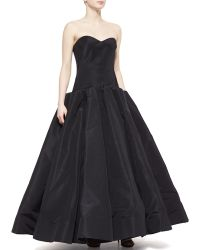 Zac Posen Strapless Silk Ball Gown - Lyst