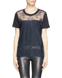 Sandro Tilly Lace Front Tshirt - Lyst
