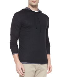 Vince Double-layer Knitted Hoody - Lyst