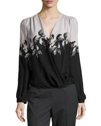 Halston Heritage Long-sleeve Printed Crossover Top - Lyst