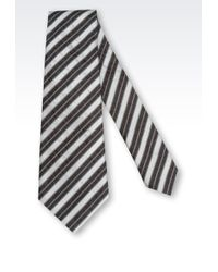 Giorgio Armani Striped Bicolour Look Tie - Lyst
