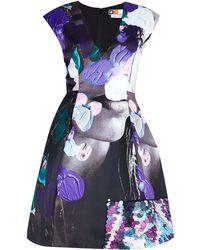 MSGM Deep V Satin Cocktail Dress Embellished - Lyst