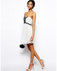 Asos Bandeau With Embellished Lace Dress - Lyst