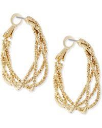 R.j. Graziano Textured Golden Hoop Earrings - Metallic