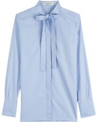 Valentino Cotton Poplin Blouse With Pussy Bow - Lyst