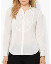 Ralph Lauren Lauren Plus Lace Bib Shirt - Lyst