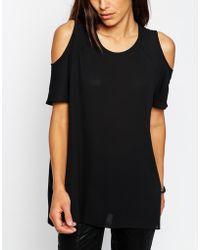 Asos Cold Shoulder T-Shirt - Lyst