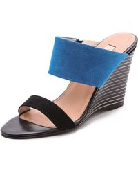 L'Agence Two Band Wedge Sandals Blackblue