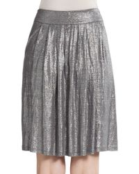 Eileen Fisher Pleated Shimmer Skirt - Lyst