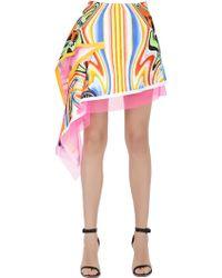 Fyodor Golan Asymmetrical Printed Cotton Sateen Skirt - Multicolor