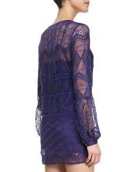Twelfth Street by Cynthia Vincent Longsleeve Lace Shirtdress Indigo Petite - Lyst