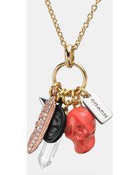 Coach Pave Multi Charm Necklace - Lyst
