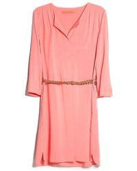 Mango Pink V-Neck Dress - Lyst
