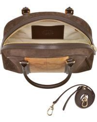 Alviero Martini 1A Classe Lady Geo Print Fabric Dark Brown Suede And Leather Satchel Bag