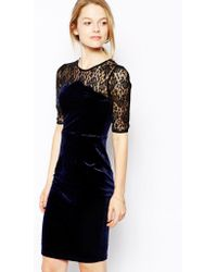 Sugarhill Martha Velvet Dress with Lace Sleeves - Black