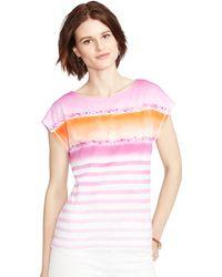 Ralph Lauren Ombré Striped Cotton Tee pink - Lyst