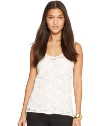 Lauren by Ralph Lauren Petite Lace Overlay Sleeveless Top - Lyst