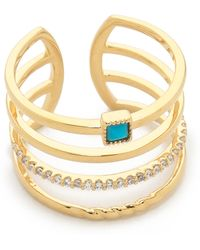 Tai - 4 Layer Ring - Gold/turquoise - Lyst