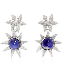 Karma El Khalil - One Of A Kind White Gold And Iolite Starburst Earrings - Lyst