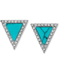 Michael Kors Silver-Tone Turquoise Triangle Stud Earrings - Lyst