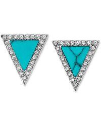 Michael Kors Silver-Tone Turquoise Triangle Stud Earrings blue - Lyst