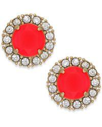 Kate Spade New York Gold-tone Pink Stone Stud Earrings - Lyst