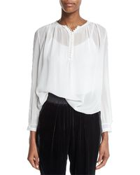 Rebecca Taylor | Long-sleeve Silk Lace-trim Top | Lyst
