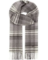 Mulberry Cashmere  Wool Checked Scarf  - Lyst