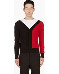 Moncler Gamme Bleu - Navy and Red Colorblock Textured Knit Sweater - Lyst