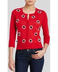 Kate Spade Embellished Cotton Cardigan red - Lyst