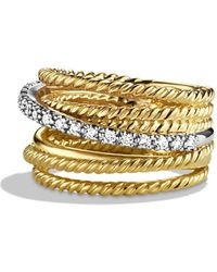 David Yurman Crossover Wide Ring With Diamonds In Gold - Yellow