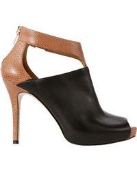 Ann Taylor Cerie Exotic Leather Peeptoe Shooties - Brown