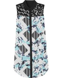 Peter Pilotto For Target Lace-Paneled Floral-Print Crepe Shirt Dress - Lyst