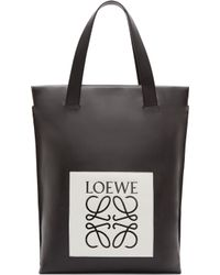 Loewe Black And White Logo Shopper Tote - Lyst