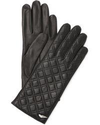 Diane von Furstenberg | Caning Quilted Leather Gloves - Black | Lyst