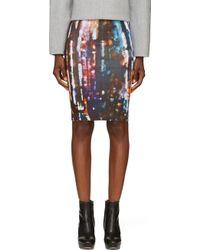 McQ by Alexander McQueen Black Blurry Lights Pencil Skirt - Lyst