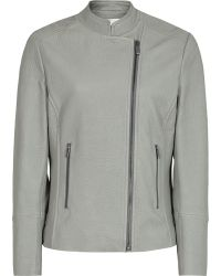 Reiss Lima Leather Biker Jacket gray - Lyst