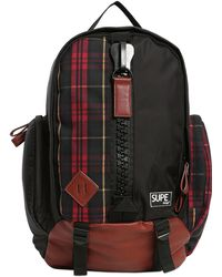 Supe Design Plaid Canvas Mountain Backpack - Black