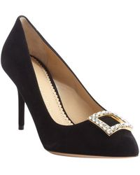 Charlotte Olympia Black Suede Crystal Detail Pointed Toe Pumps - Lyst