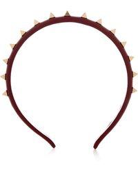 Valentino Rockstud Leather Headband - Purple
