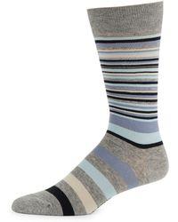 Cole Haan Stripe Crew Socks - Gray
