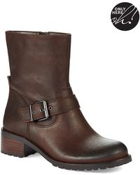 424 Fifth Wann Leather Combat Boots - Brown