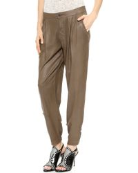 Dwp Alex Pleated Pants  Walnut - Lyst